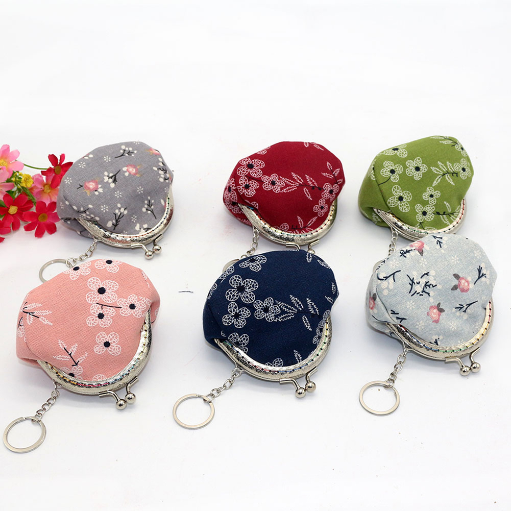 Vintage Lady Girl Small Canvas Flower Kiss Lock Coin Purse Keychain Wallet (411463) photo