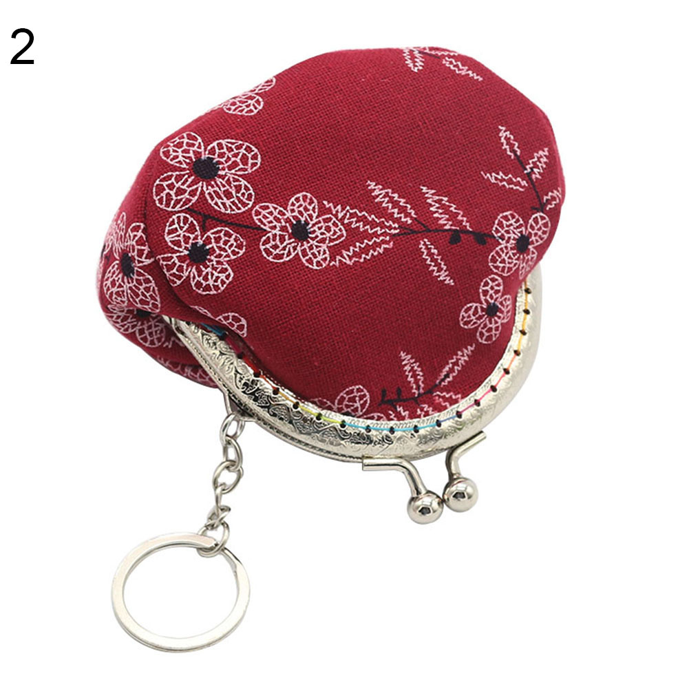 Vintage Lady Girl Small Canvas Flower Kiss Lock Coin Purse Keychain Wallet Gift (Bluelans) photo