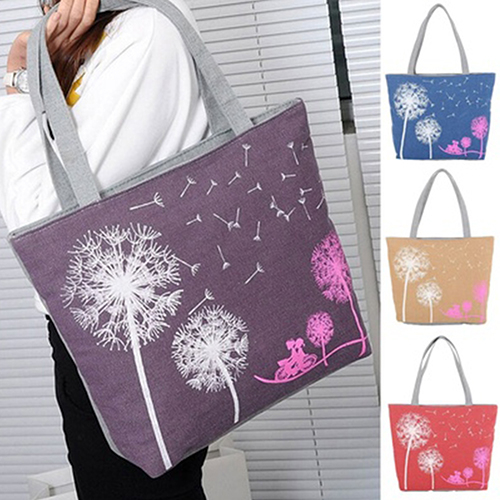 Woman Canvas Dandelion Boho Tote Zipper Purse Fashion Shoulder Handbag (851459) photo
