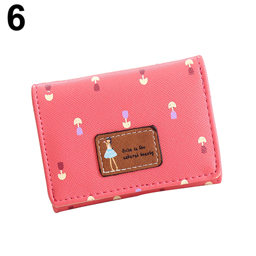 Women Girl Pattern Floral Print Faux Leather Short Wallet Card Holder Purse - watermelon red (Bluelans) photo