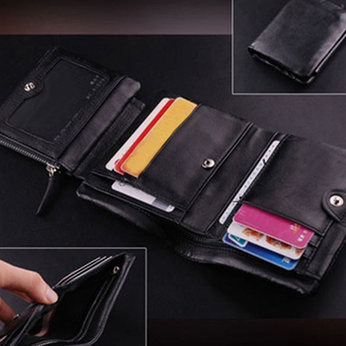 Men Fashion Large Capacity Genuine Leather Trifold Zipper Wallet Purse (710081) photo
