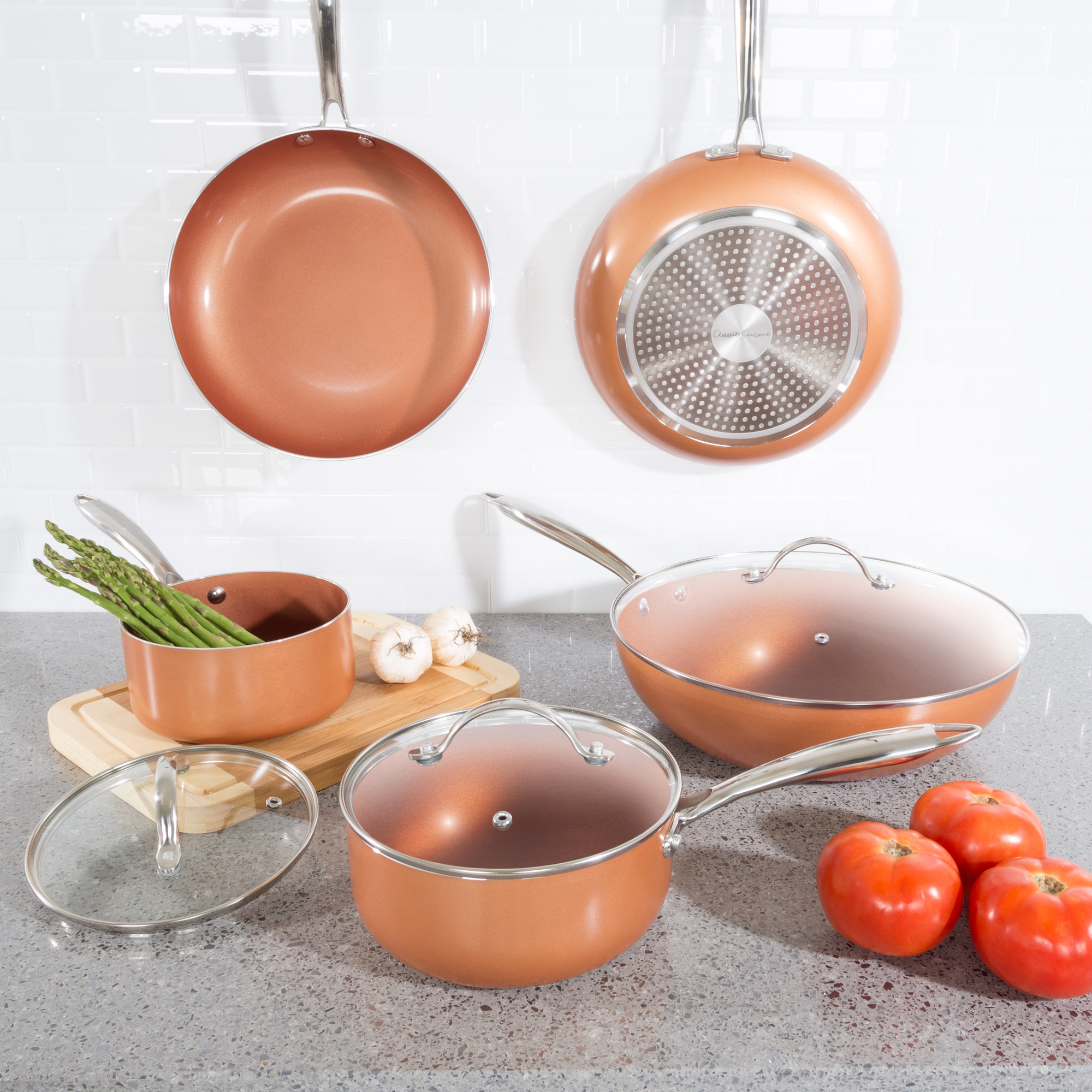 8 Pc Cookware Set with 2 Layer Nonstick Ceramic Coating, Tempered Glass Lid, Copper Color Finish Dishwasher Oven Safe Allumi-Shield