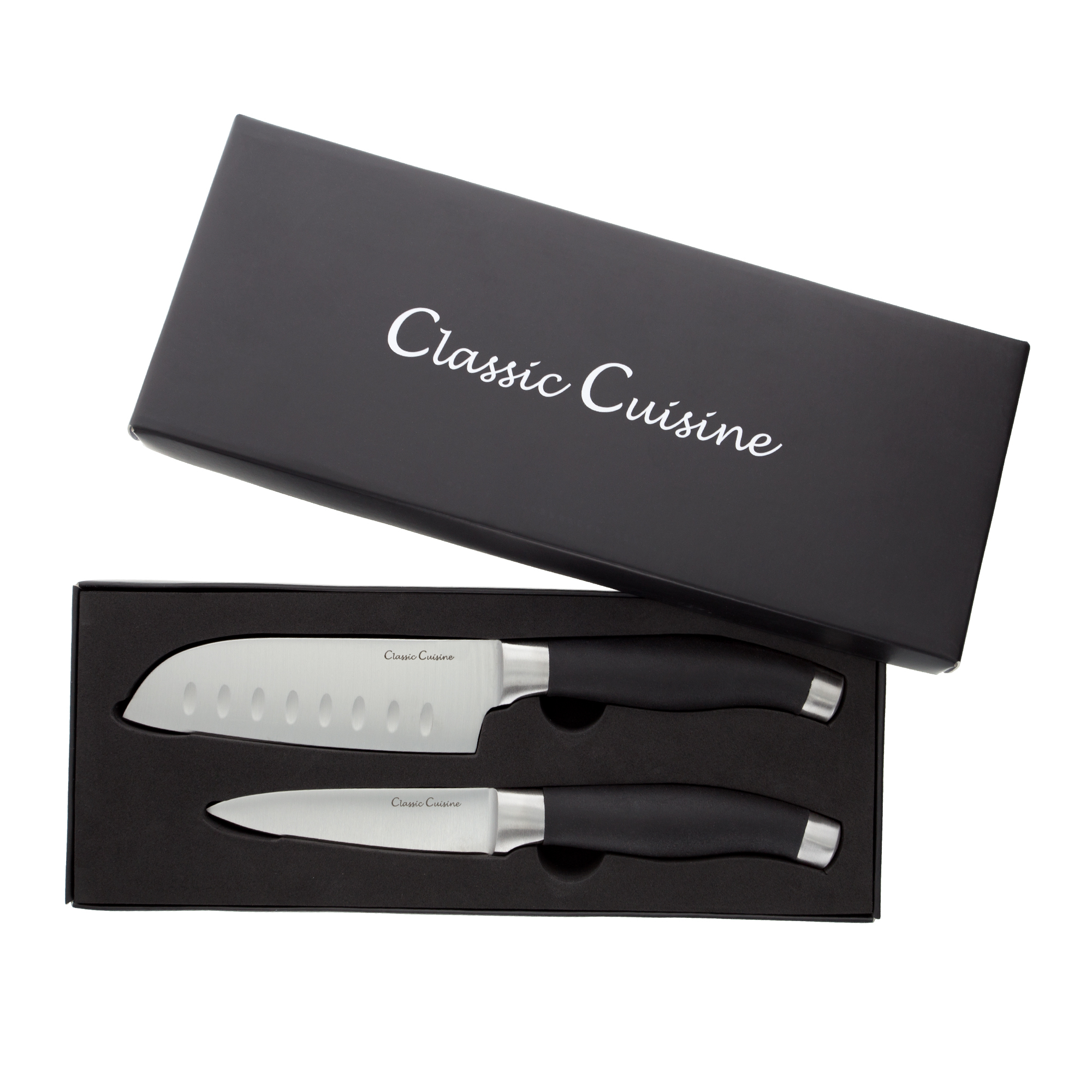 Professional Quality 2 Piece Stainless Steel Hand Forged Knife Set- 5� Santoku Knife, 4� Paring Knife for Home and Restaurant