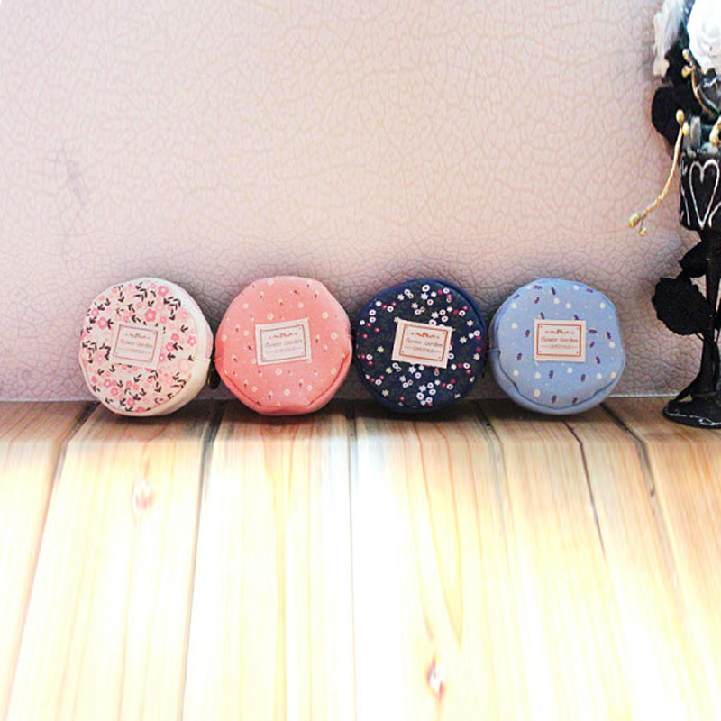 Floral Fabric Circular Zipper Coin Purse Wallets Admission Package (nu-780) photo