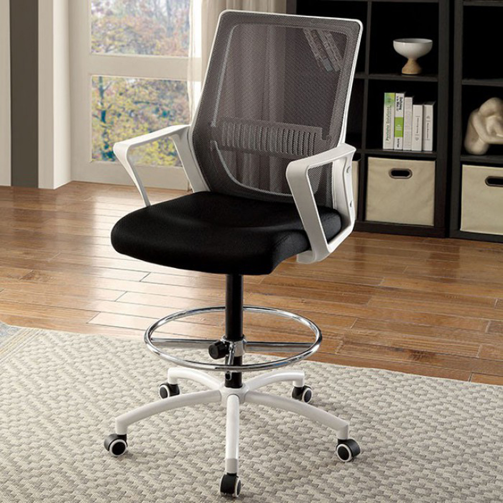 Noely Contemporary Office Chair, Black & White & Chrome Finish