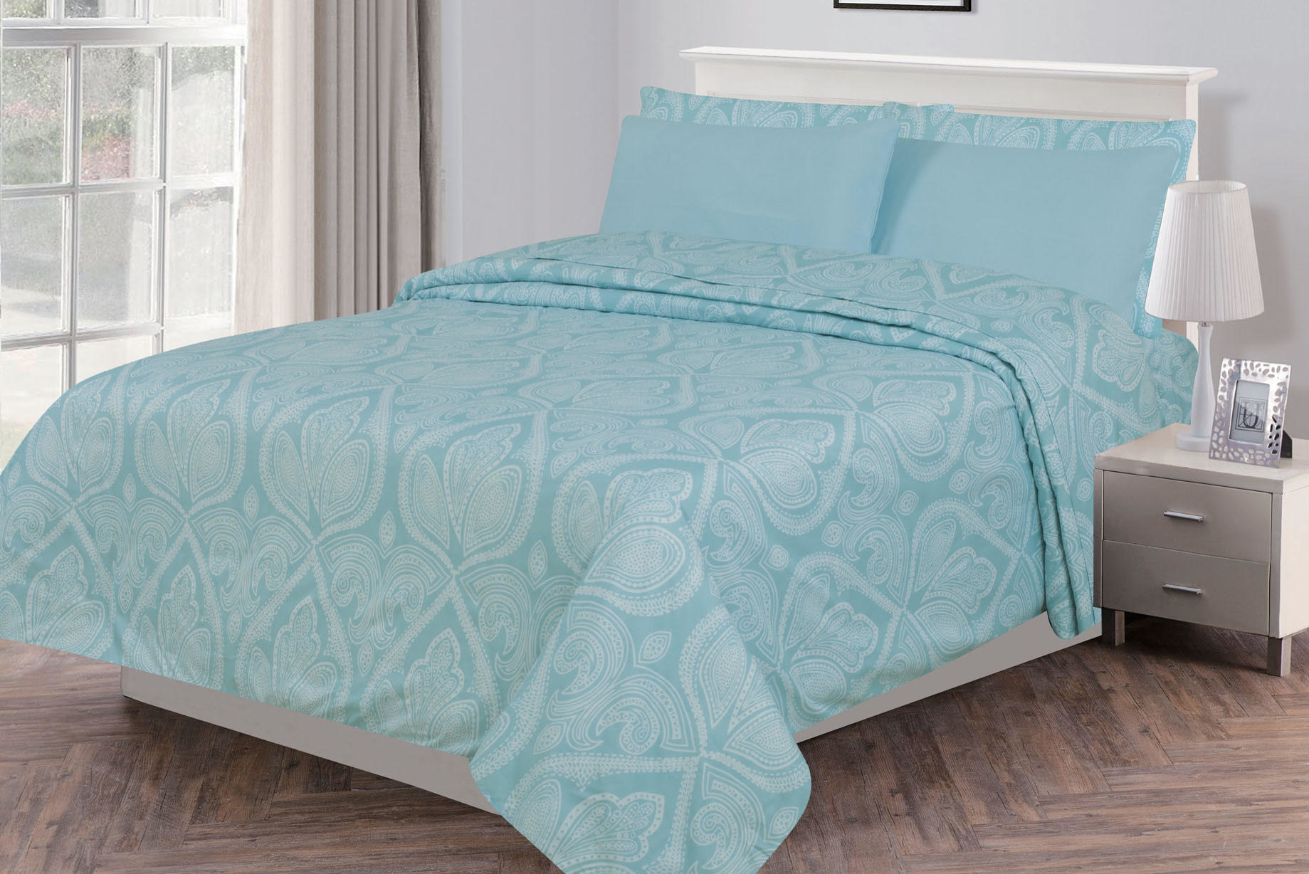 6 Piece: Paisley Printed Egyptian Bed Sheets set, Soft Bedding - Wrinkle, Fade, Stain Resistant - King, Blue