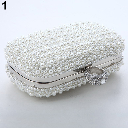 Women Luxury Faux Pearl Beaded Dinner Party Cocktail Bridal Handbag Clutch Purse (Bluelans) photo
