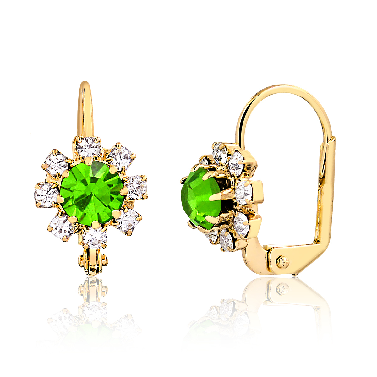 18k Gold Plated Olivine and Clear Crystal Flower Huggie Earrings Er127-08 596ce2582b59ca4df05ed786