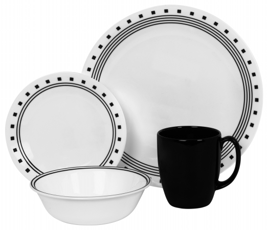 World Kitchen 16 Piece Black Corelle Livingware City Block Set 1074208 596d39672a00e402301f9d87