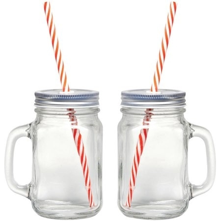 Starfrit Gourmet 080049-006-0000 Mason Jar Mugs with Straws Pack of 2 596d4d452a00e43d260e96a7