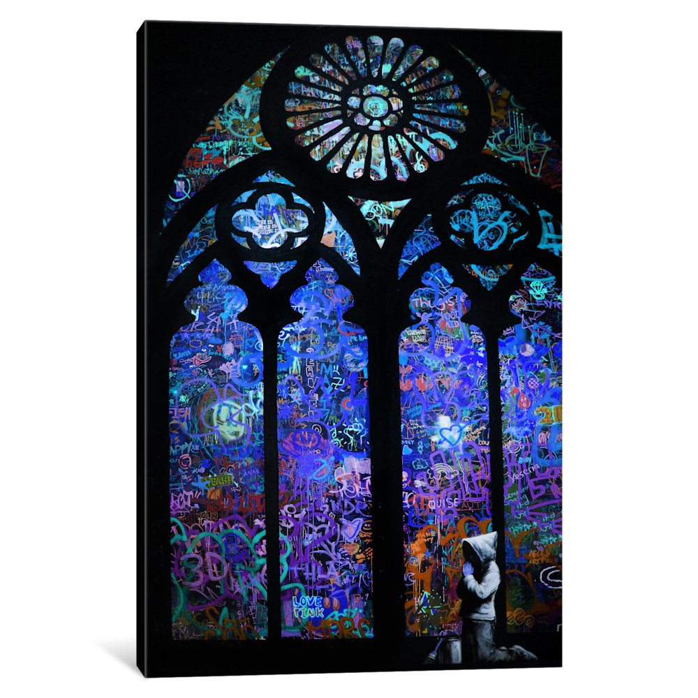 Stained Glass Window II by Banksy Canvas Print 596e39982a00e40a7858593f