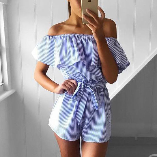 Off shoulder Ruffle Jumpsuit Short Romper - Blue, Small 596ecedb469fe25aae0770eb