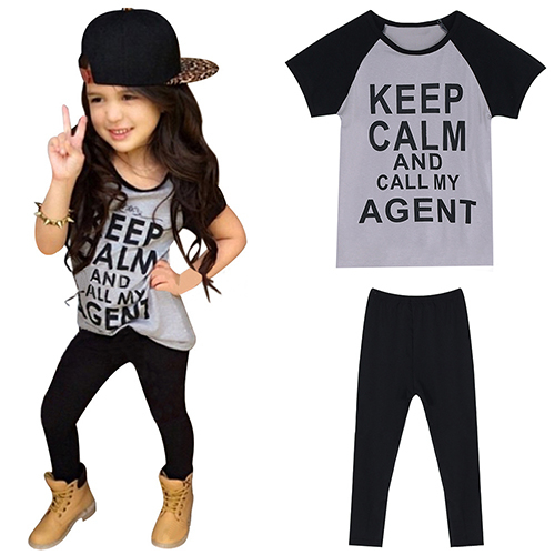 Baby Girl's Letters Printed T-Shirt + Pants Fashion Outfits Casual Clothes Suit 5970492d2a00e4797a0bc366