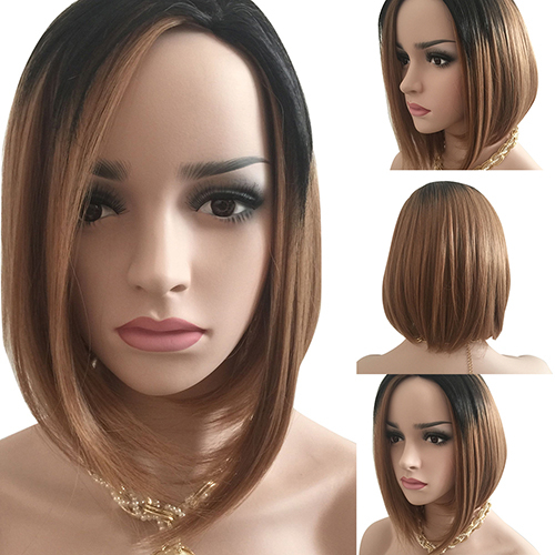 Women Fashion Short Gradient Color Wig Cosplay Party Pub Full Hair Extension