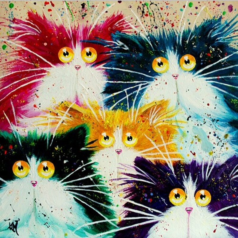 Abstract Painting Cat Animals DIY Painting By Numbers Hand Painted Oil Painting Unique Gift For Home Artwork 40x50cm
