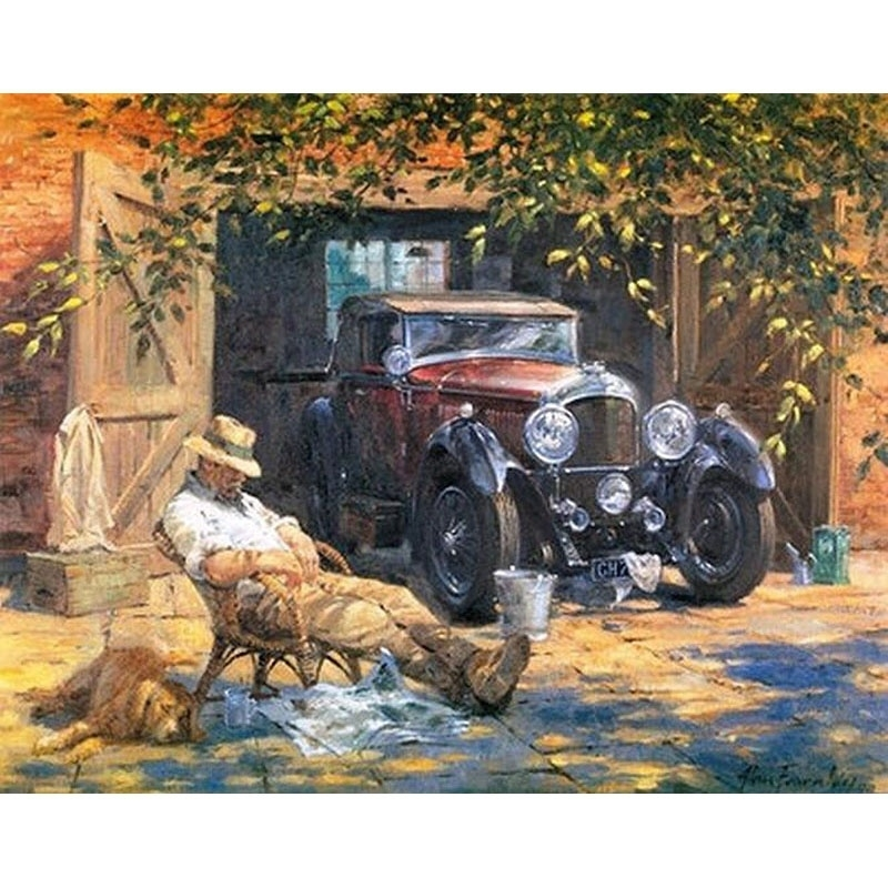Frameless Relax Car Canvas Picture Diy Painting By Numbers Acrylic Paint Vintage Painting Hand Painted For Home Wall Art Decor