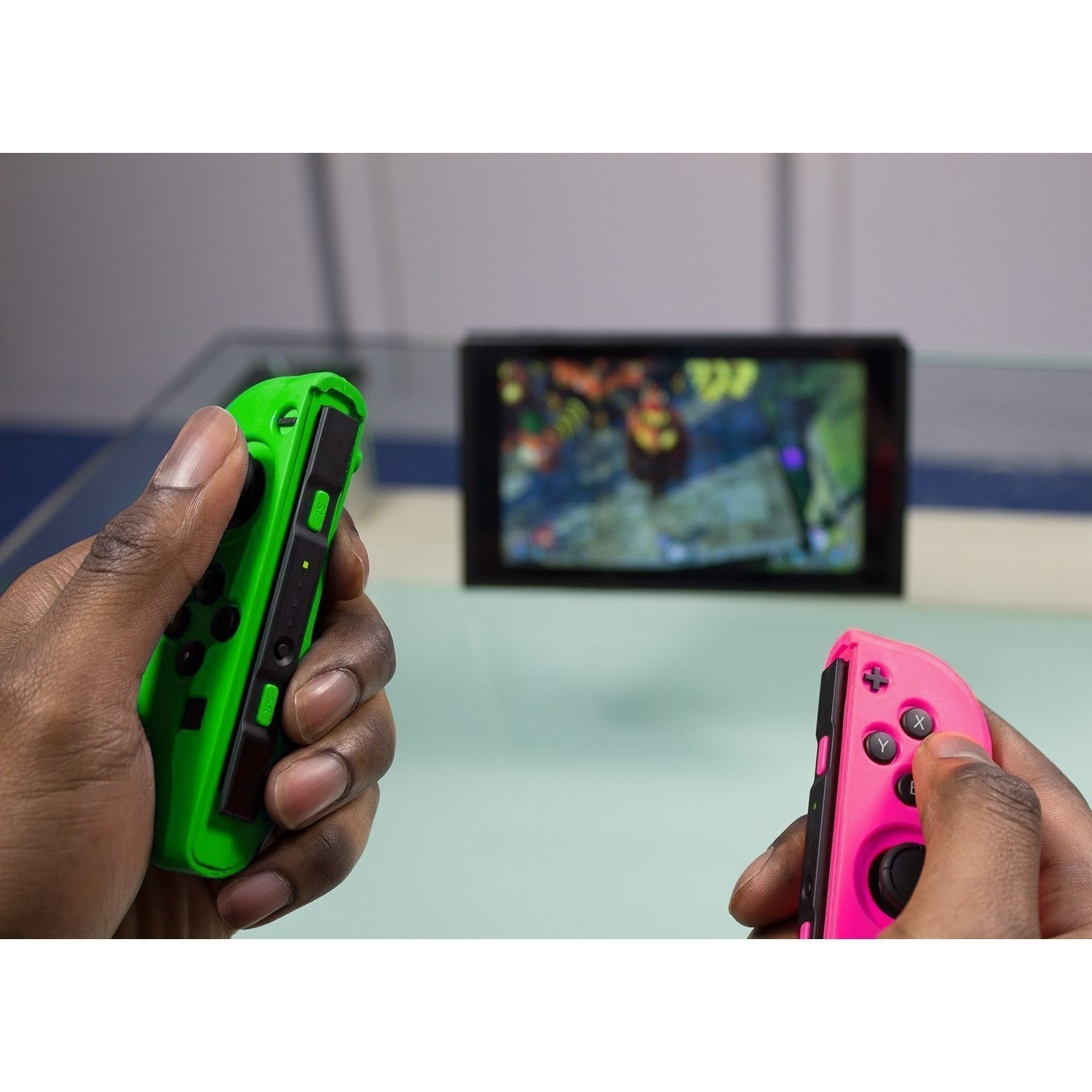 Protective Silicone Case Cover Skin for Nintendo Switch Left and Right Controllers - Green and Pink 598c89193474d733ef03c577