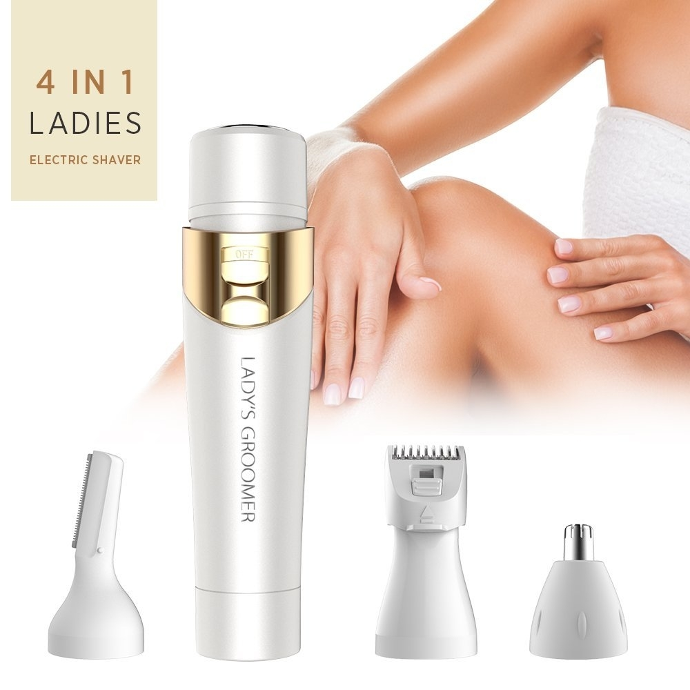 4 in 1 Flawless Women's Painless Hair Removal Electric Hair Shaver - Eyebrow Shaping, Body Shaver, Nose Trimmer, Facial Shaver 598d1d3b19a95447521d268b