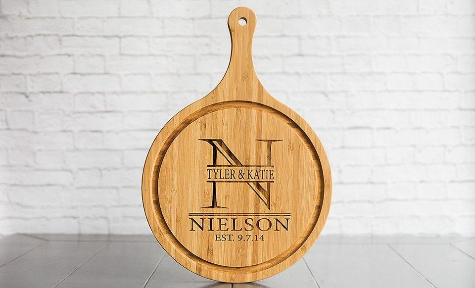 Personalized Large Handled Round Cutting Board with Juice Grooves - Nielson
