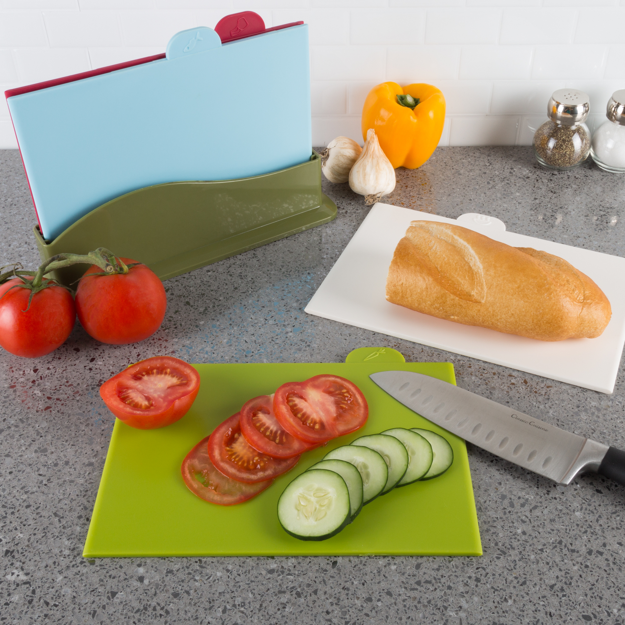 Plastic Cutting Board Set 4 Color Coded Boards Dual Sided FDA Approved Easy Access Counter Space Saver