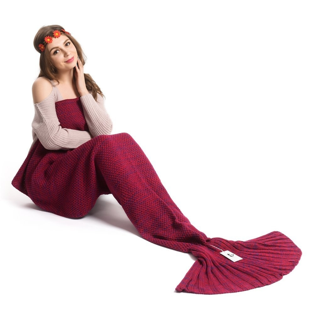 Red Soft Comfortable Knitted Sofa Bedding Mermaid Tail Blanket Home Warm Gift – For baby, mint