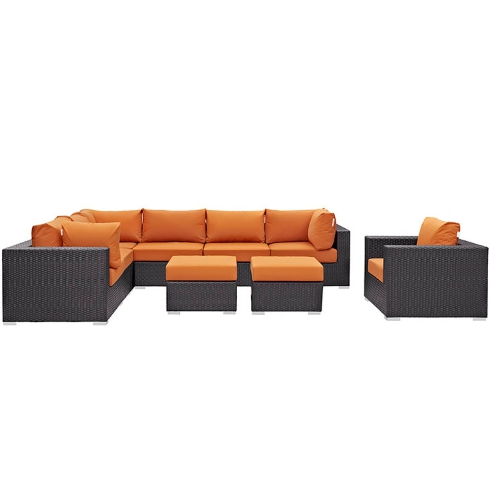 Convene 9 Piece Outdoor Patio Sectional Set, Espresso Orange 59a7a0d82a00e45d3605b1ff