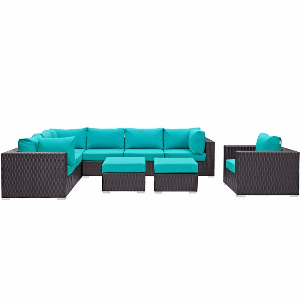 Convene 9 Piece Outdoor Patio Sectional Set, Espresso Turquoise 59a7a0d92a00e45d3605b205