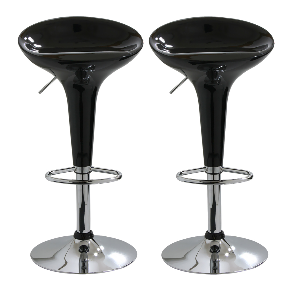 Amerihome 2 Piece Bar Stool Set - Black, Silver