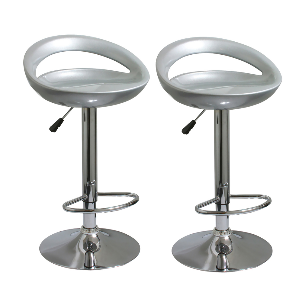 Amerihome 2 Piece Bar Stool Set - Silver