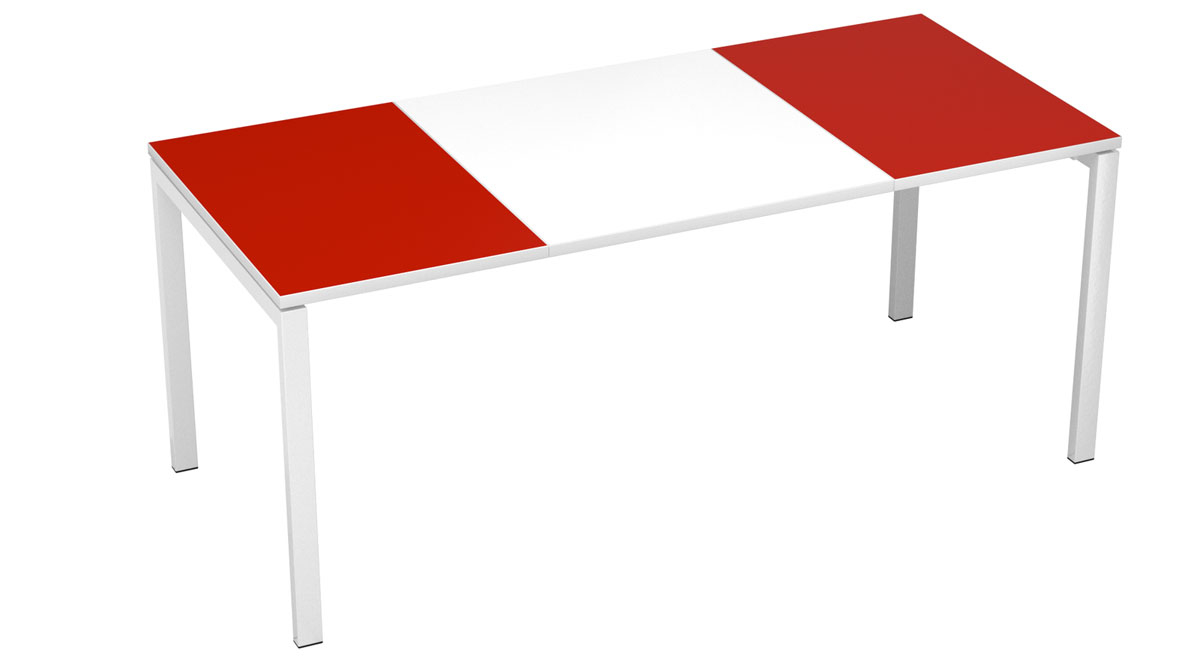 "Paperflow Easydesk Training Table - 71"" Long - White Middle With Red Ends"