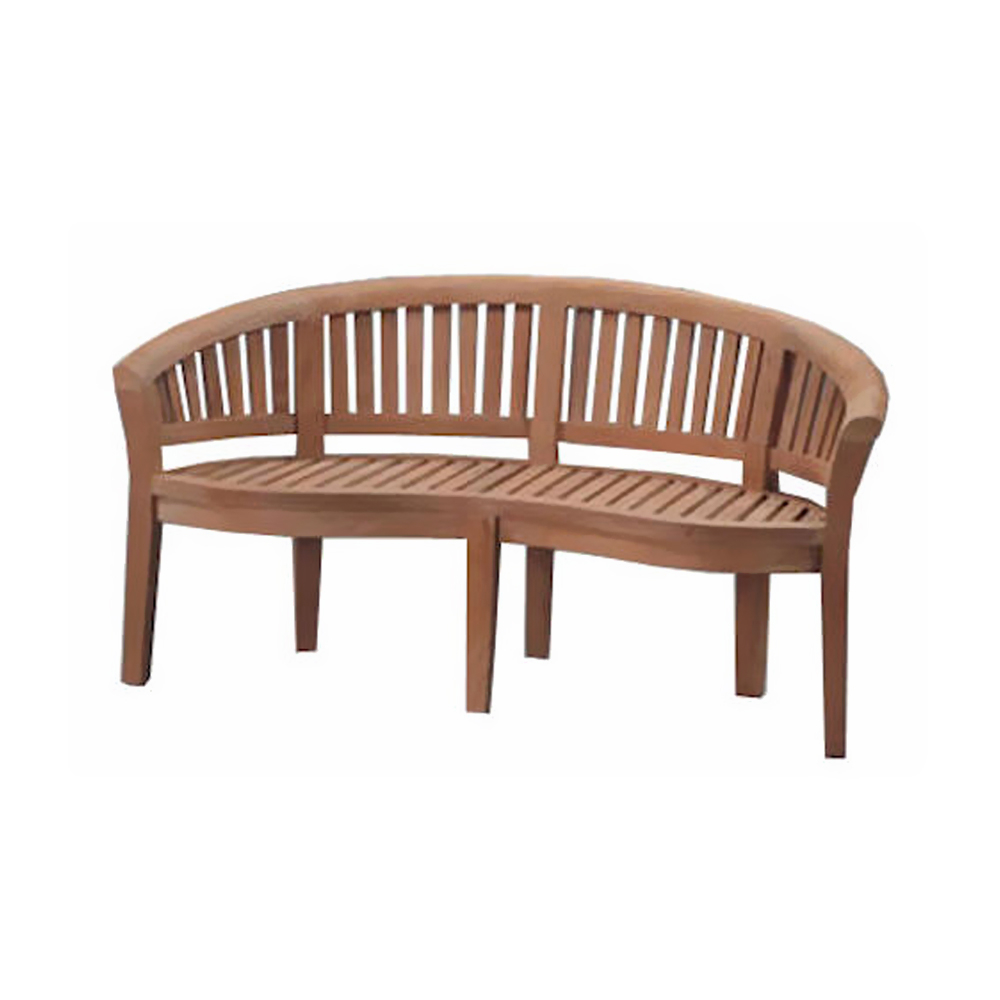 Andersonteak Outdoor Living Furniture Curve 3 Seater Bench Extra Thick Wood