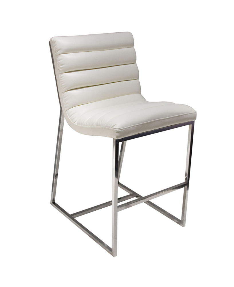 Diamond Bardot Counter Height Chair With Stainless Steel Frame - White