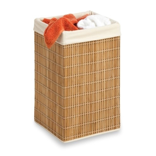 Honey-Can-Do Square Wicker Hamper/Clothing Organizer in Bamboo 55d20ab0a2771c28598b46b8