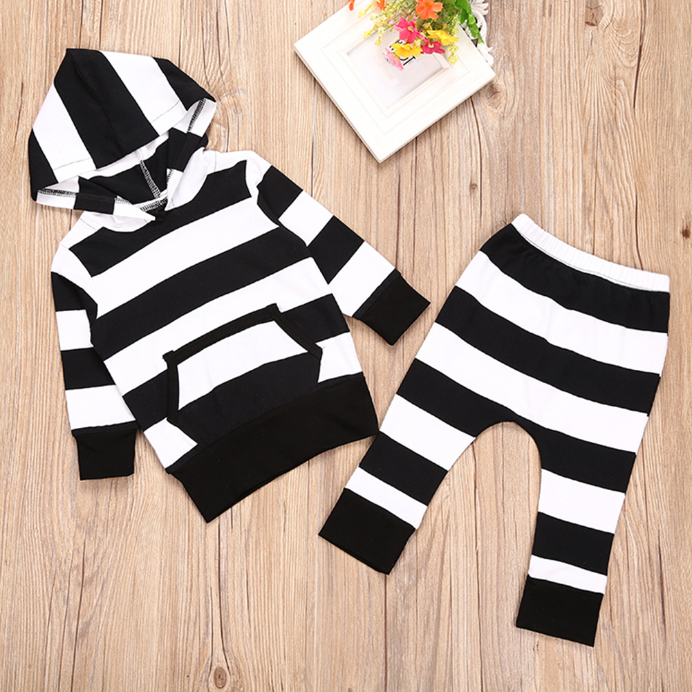 Newborn Infant Baby Long Sleeve Hoodie T-Shirt Top + Striped Pants Outfit Set