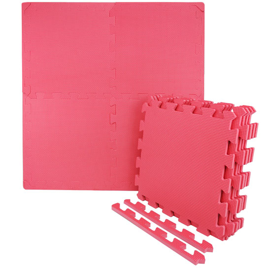 "Wacces Multi-Purpose Puzzle EVA Floor Interlocking Foam Exercise Mat Tiles 12"" x 12\"" - Red 59b9556def85266e59202e66"