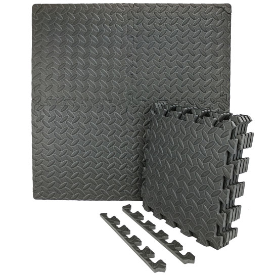 "Wacces Multi-Purpose Puzzle EVA Floor Interlocking Foam Exercise Mat Tiles 24"" X 24\"" - Black 59b95e9c5ec74819df363dd3"