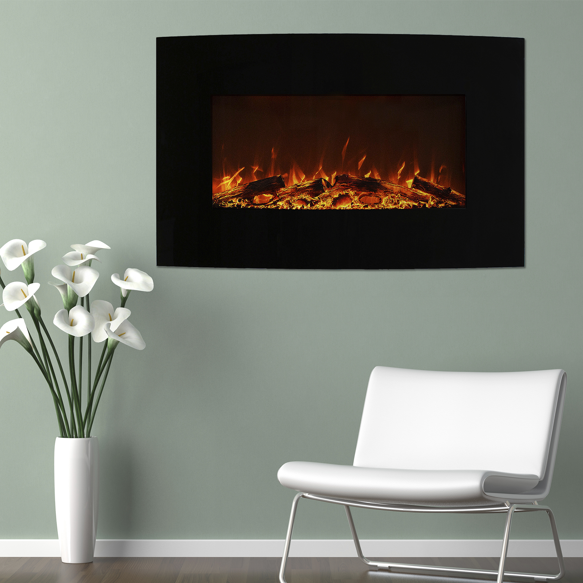 Curved Color Changing Fireplace Wall Mount Floor Stand Northwest