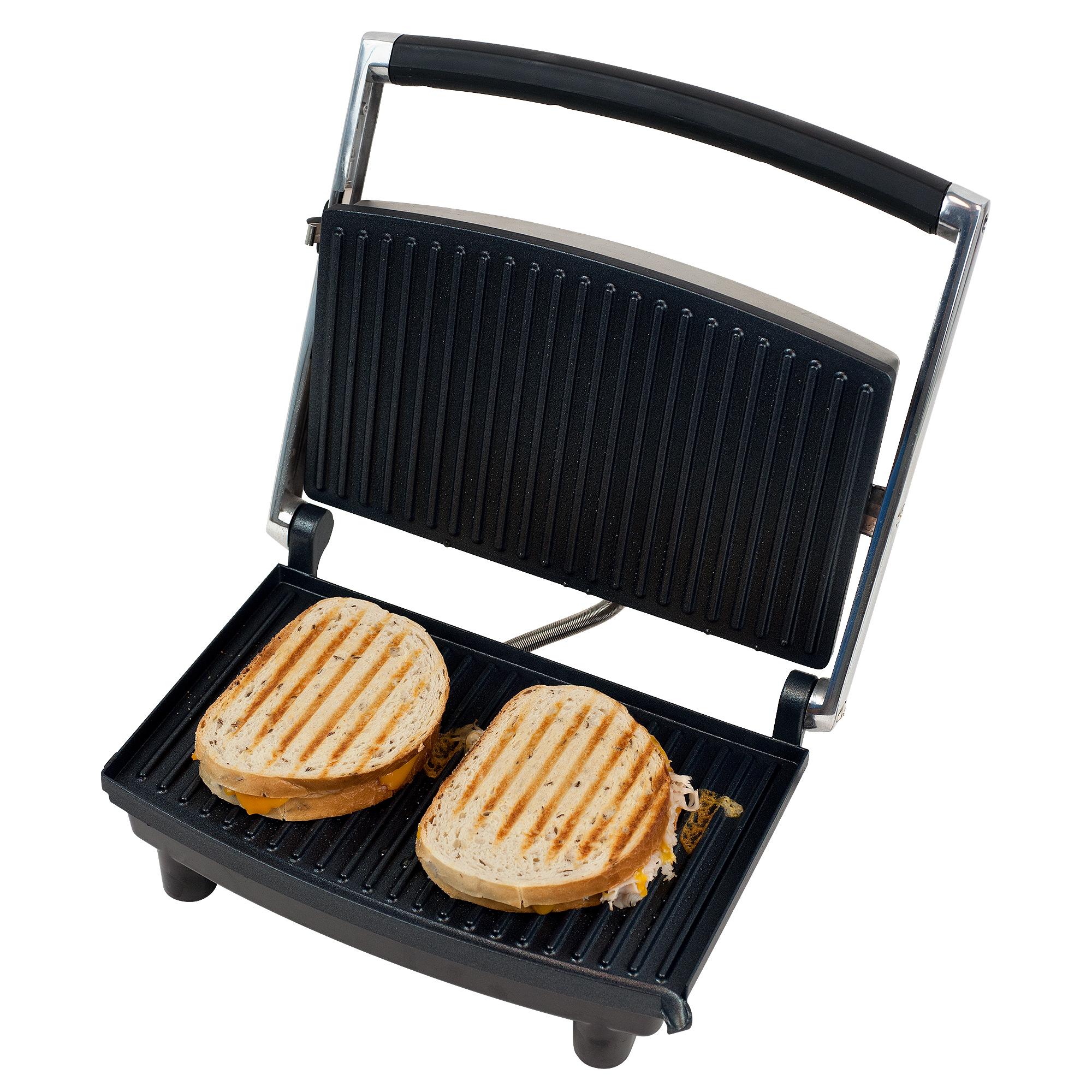 Grill and Panini Press - Non-Stick Sandwich Press Hot Ham and Cheese