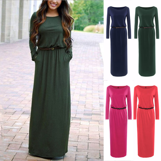 Solid Color Belted Maxi Dress with Pockets - Green, Small 59bb42a7a020af18233866c6