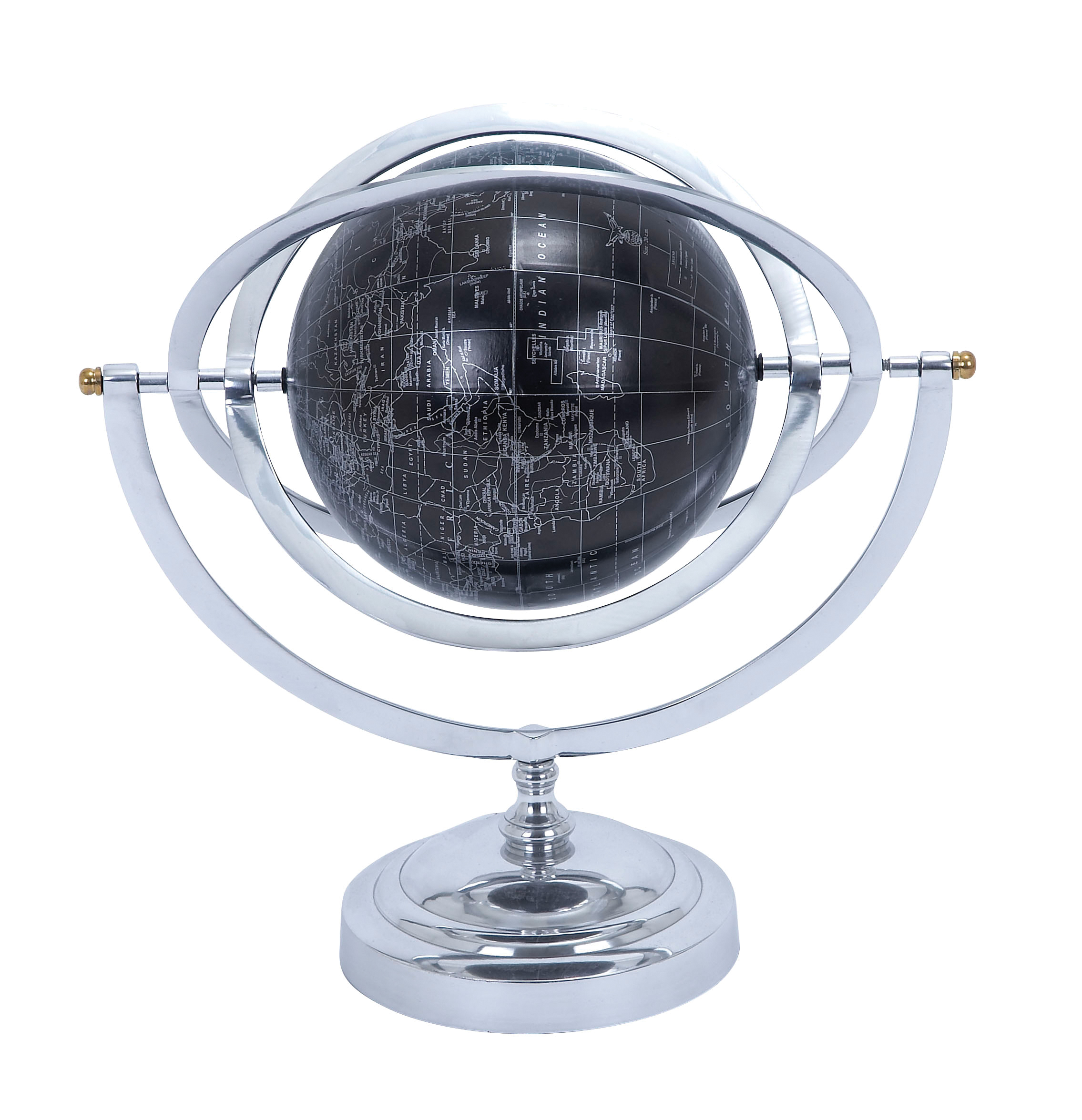 Metal Globe With White Mapping On Matte Black Background