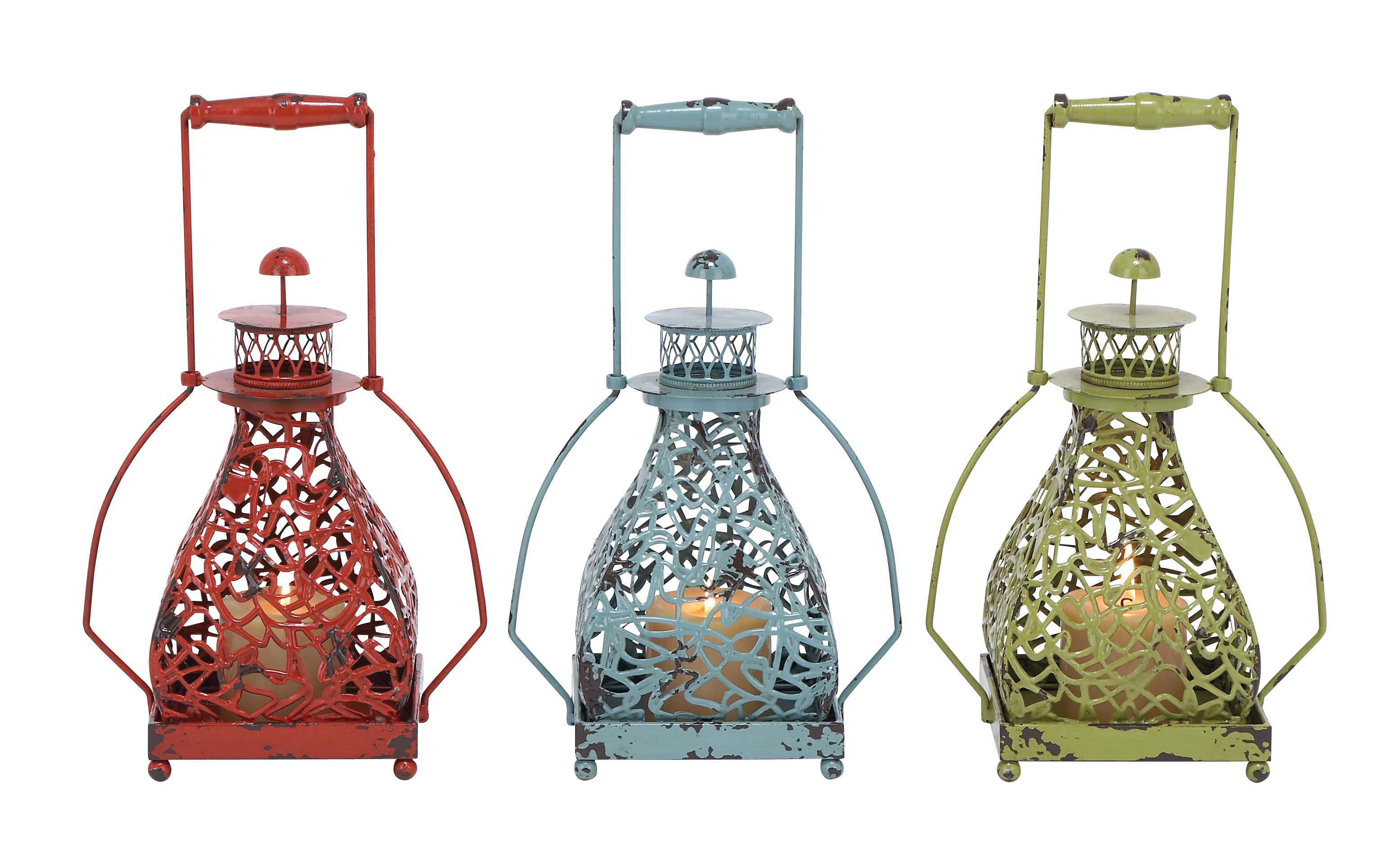Metal Candle Holder 3 Assorted With Vibrant Colors 5899529ec98fc433fb584edf
