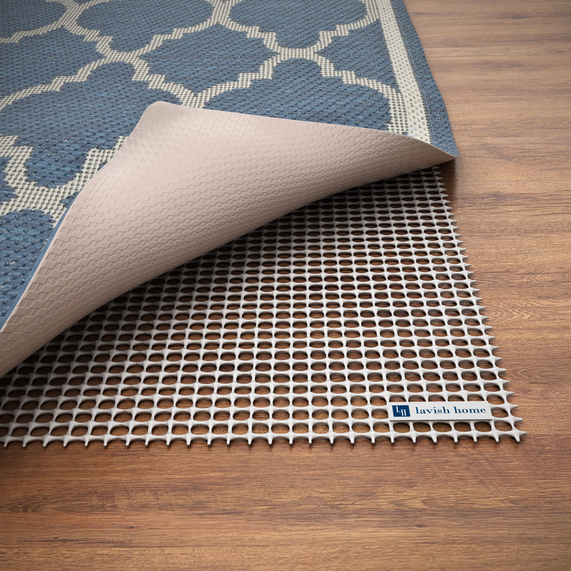 Non Slip Rug Pad- Rubber Non Skid Gripper for Area Rugs on Hard Surfaces and Wood Floors (8' x 10')- Trim to Fit Multiple Rug Sizes