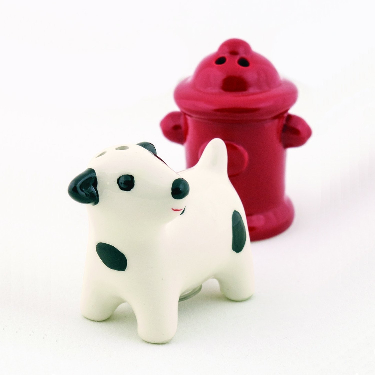 Dog & Fire Hydrant Ceramic Salt & Pepper Shakers. Made Out Of Hand-Painted Ceramic.