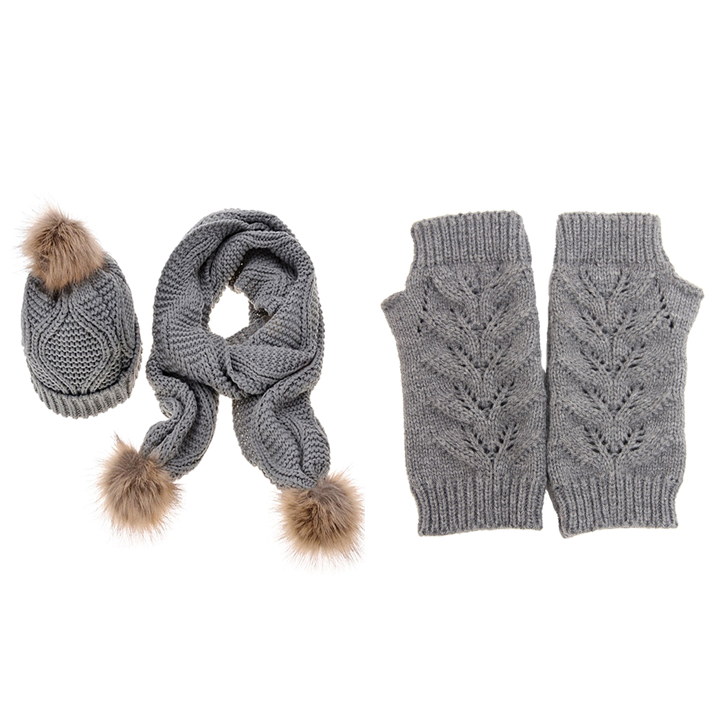 Hot Women's Autumn Winter Brand New Knitted Hat Glove And Scarf Set Grey 59c4be37e2246139b2794856