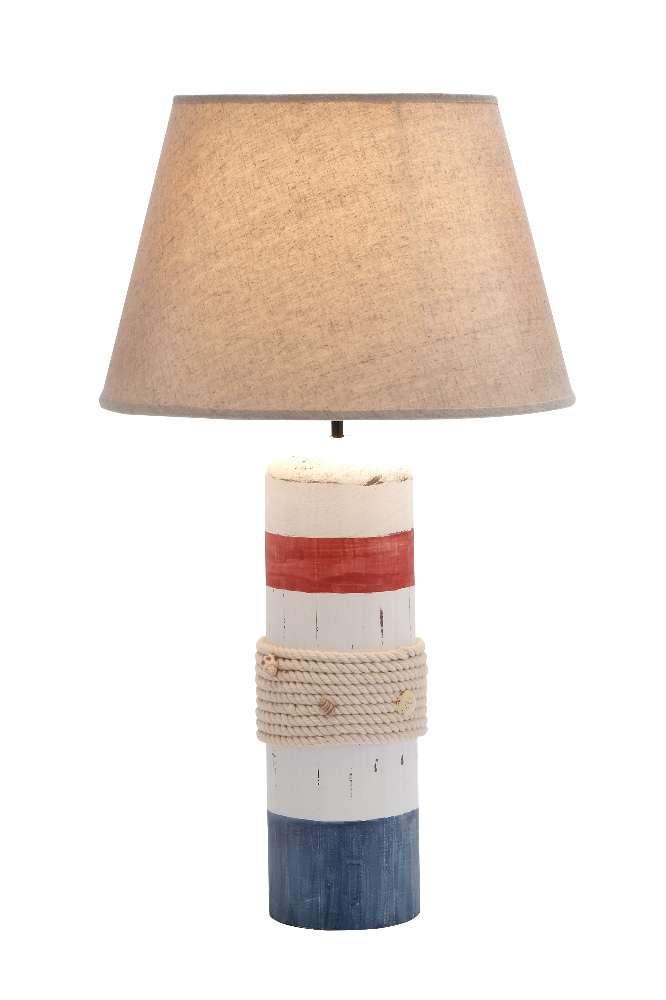 Benzara Stylish Wooden White Buoy Table Lamp with Red and Blue Band 58995344c98fc41ef333cd41