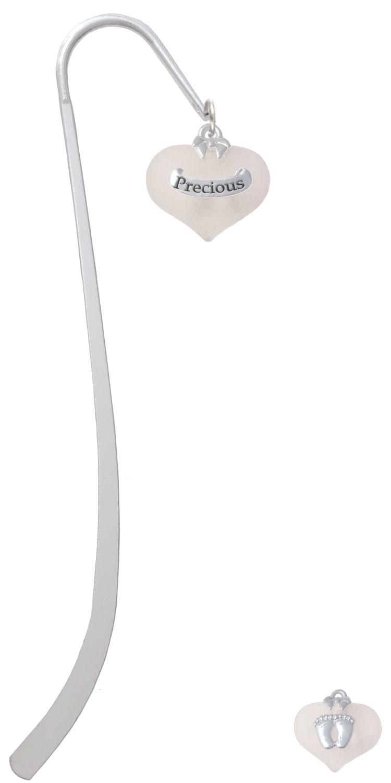 Precious White Heart with Baby Feet Charm Bookmark