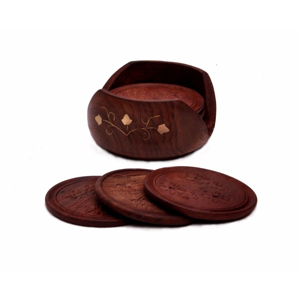 Round Handmade Drink Coaster Set Of 6 In Rosewood Retro Wood Benzara Brand 59d009ac2a00e46ddd0a3729