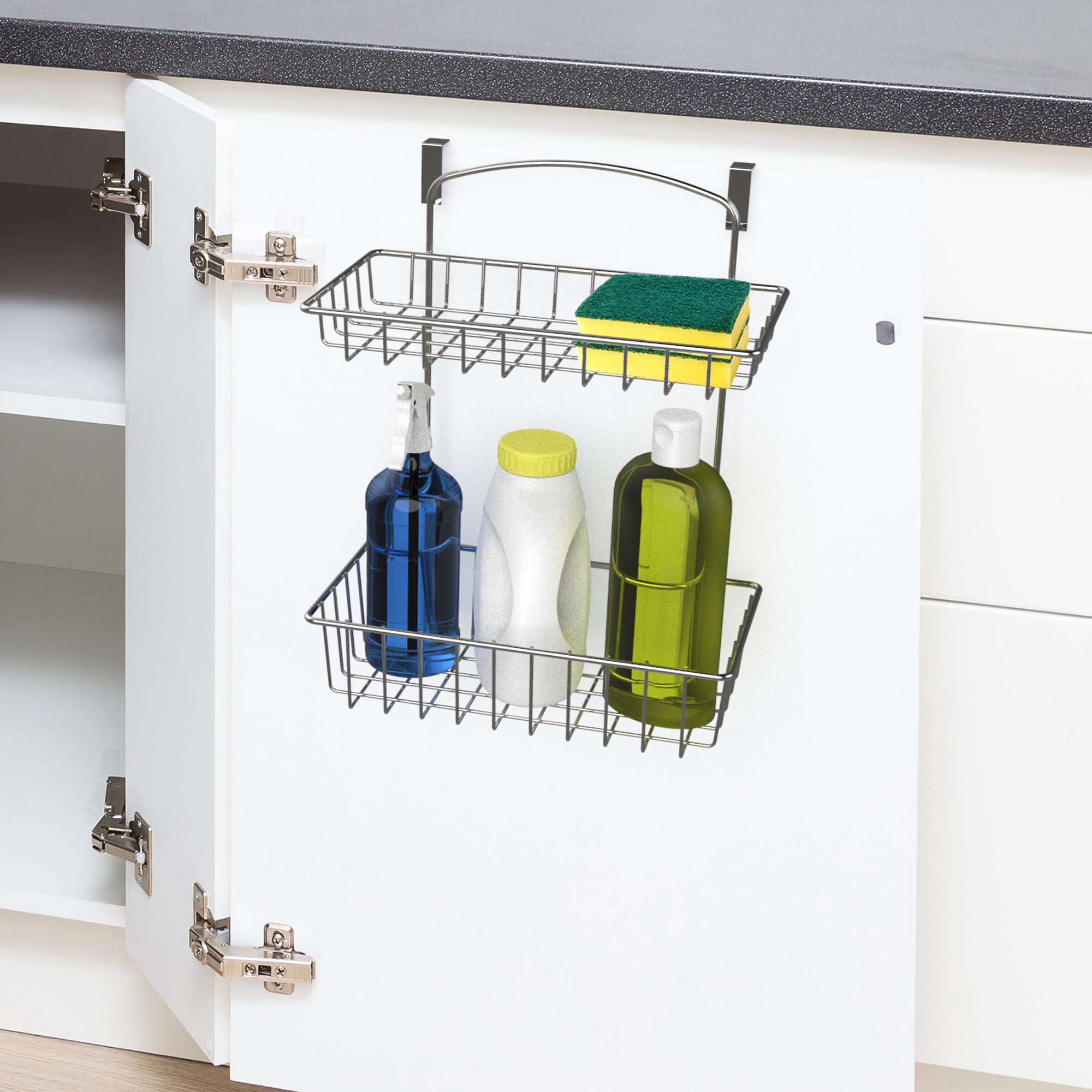 Metal Over the Cabinet Cupboard Door Caddy Soap Sponge Holder Kitchen Storage