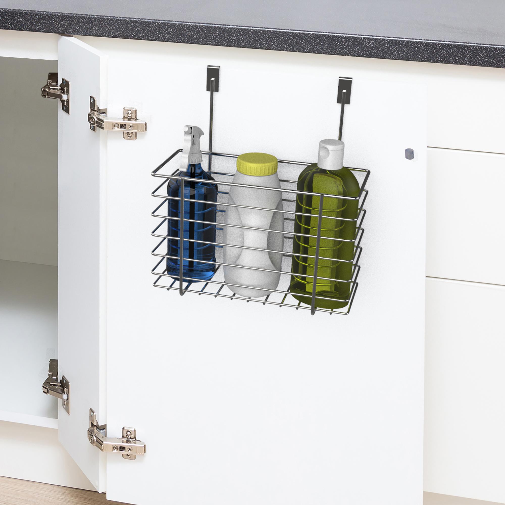 Metal Over the Cabinet Cupboard Door Caddy Bottle Spray Kitchen Storage Basket