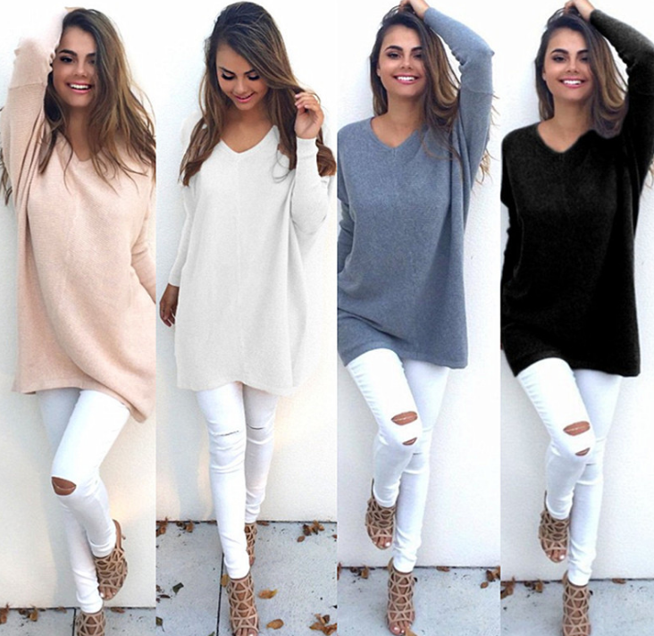 Women V Neck Long Sleeve Casual Loose Solid Thin Knitted Tops Sweater - XS, Black 59d71d4f469fe256e636c62e